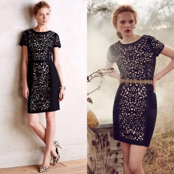 Anthropologie Dresses & Skirts - Anthropologie Maeve Black Lasercut Floral Dress